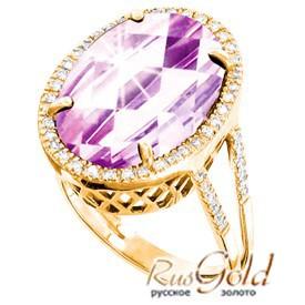Золото женское кольцо с аметистом
